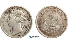 AF507, Hong Kong, Victoria, 20 Cents 1895, London, Silver, VF