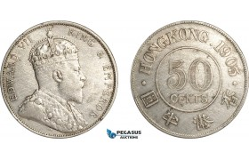 AF508, Hong Kong, Edward VII, 50 Cents 1905, London, Silver, Cleaned XF