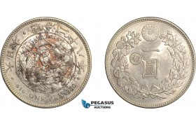 AF512, Japan, Meiji, Yen Yr. 28 (1895) Silver, Gin C/S right side, Cleaned aUNC