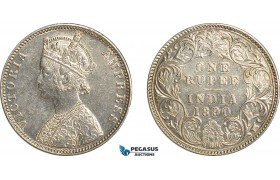 AF514, India (British) Victoria, Rupee 1890-B, Bombay, Silver, Cleaned AU-UNC