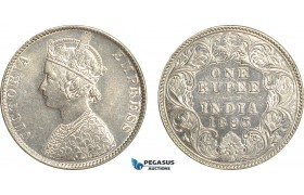 AF515, India (British) Victoria, Rupee 1893, Silver, Cleaned AU-UNC
