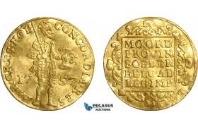 AF517, Netherlands, Holland, Ducat 1757, Gold (3.42g) Wavy AU