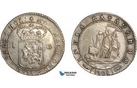AF518, Netherlands East Indies, Batavian Republic, Gulden 1802, Silver, Cleaned AU