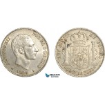 AF527, Philippines, Spanish Administration, Alfonso XII, 50 Centimos 1885, Silver, AU