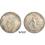 AF528, Philippines, US Administration, 50 Centavos 1904-S, San Francisco, Silver, Cleaned AU