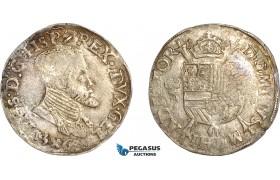 AF542, Spanish Netherlands, Gelderland, Philip II, 1/5 philipsdaalder 1563, Silver (6.82g) Toned AU