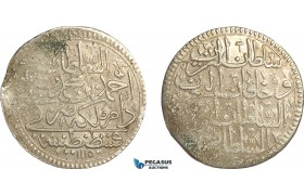 AF544, Ottoman Empire, Turkey, Ahmed III, Zolota AH1115, Billon, Lustrous aUNC, Weak struck