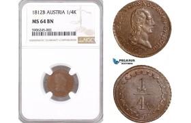 AF546, Austria, Franz II, 1/4 Kreuzer 1812-B, Kremnitz, NGC MS64BN, Pop 1/0
