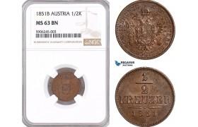 AF547, Austria, Franz Joseph, 1/2 Kreuzer 1851-B, Kremnitz, NGC MS63BN