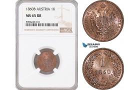 AF548, Austria, Franz Joseph, 1 Kreuzer 1860-B, Kremnitz, NGC MS65RB