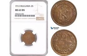 AF550, Bulgaria, Ferdinand, 2 Stotinki 1912, NGC MS63BN