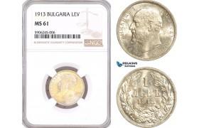 AF551, Bulgaria, Ferdinand, 1 Lev 1913, Vienna, Silver, NGC MS61