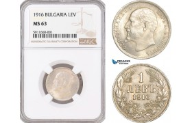 AF552, Bulgaria, Ferdinand, 1 Lev 1916, Kremnitz, Silver, NGC MS63, Rare!