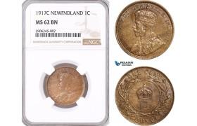 AF555, Canada, Newfoundland, George V, 1 Cent 1917-C, NGC MS62BN