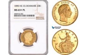 AF560, Denmark, Christian IX, 20 Kroner 1890, Copenhagen, Gold, NGC MS63+ PL, Pop 1/0