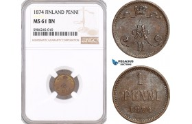 AF562, Finland, Alexander II. of Russia, 1 Penni 1874, NGC MS61BN