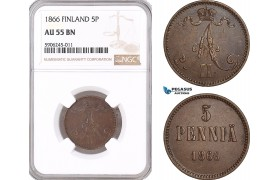 AF563, Finland, Alexander II. of Russia, 5 Penniä 1866, NGC AU55BN