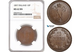 AF565, Finland, Nicholas II. of Russia, 10 Penniä 1897, NGC MS62BN