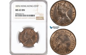 AF568, Hong Kong, Victoria, 1 Cent 1876, NGC MS63BN