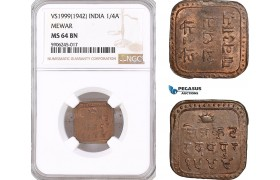 AF571, India, Mewar, 1/4 Anna VS1999 (1942) NGC MS64BN