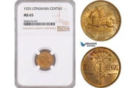 AF577, Lithuania, 1 Centas 1925, NGC MS65