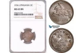AF578, Lithuania, 2 Centai 1936, NGC MS63BN