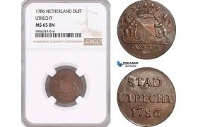 AF583, Netherlands, Utrecht, 1 Duit 1786, NGC MS65BN