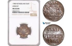 AF584, Netherlands, Utrecht, 1 Duit 1788, NGC MS66BN