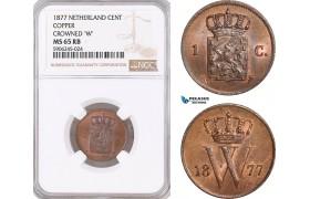 AF585, Netherlands, Willem III, 1 Cent 1877, Utrecht, NGC MS65RB