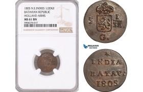 AF586, Netherlands East Indies, Batavian Republic, 1/2 Duit 1805, Holland Arms, NGC MS61BN