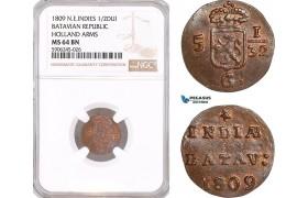 AF587, Netherlands East Indies, Batavian Republic, 1/2 Duit 1809, Holland Arms, NGC MS64BN