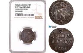 AF588, Netherlands East Indies, Batavian Republic, Duit 1805, Holland Arms, NGC MS61BN, Pop 1/0