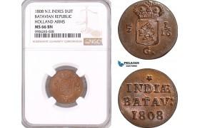 AF589, Netherlands East Indies, Batavian Republic, Duit 1808, Holland Arms, NGC MS66BN, Pop 1/0