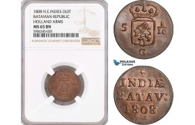 AF590, Netherlands East Indies, Batavian Republic, Duit 1808, Holland Arms, NGC MS65BN