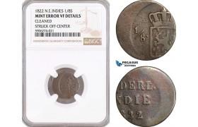 AF594, Netherlands East Indies, 1/8 Stuiver 1822, NGC VF Det. Mint Error