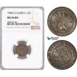 AF596, Netherlands East Indies, 1/2 Cent 1908, Utrecht, NGC MS64BN