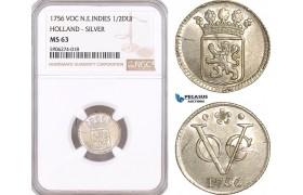 AF598, Netherlands East Indies, VOC, 1/2 Duit 1756, Silver, Holland Arms, NGC MS63