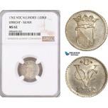 AF599, Netherlands East Indies, VOC, 1/2 Duit 1762, Silver, Utrecht Arms, NGC MS62