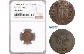 AF600, Netherlands East Indies, VOC, 1/2 Duit 1790, Gelderland Arms, NGC MS62BN