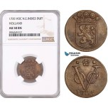 AF601, Netherlands East Indies, VOC, Duit 1735, Holland Arms, NGC AU50BN
