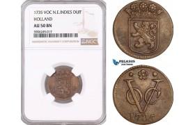 AF601, Netherlands East Indies, VOC, Duit 1735, Holland Arms, NGC AU50BN