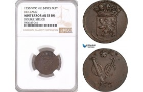 AF602, Netherlands East Indies, VOC, Duit 1750, Holland Arms, NGC AU53BN, Mint Error