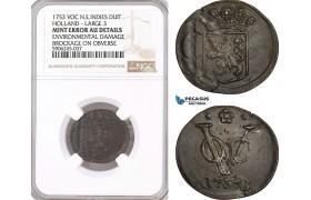 """AF605, Netherlands East Indies, VOC, Duit 1753 """"Large 3"""" Holland Arms, NGC AU Det., Mint Error"""