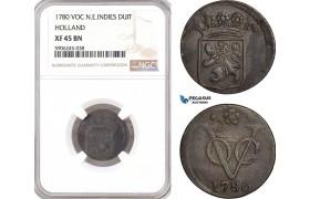 AF606, Netherlands East Indies, VOC, Duit 1780, Holland Arms, NGC XF45BN
