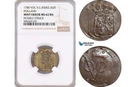 AF607, Netherlands East Indies, VOC, Duit 1780, Holland Arms, NGC MS62BN, Mint Error, Rare!