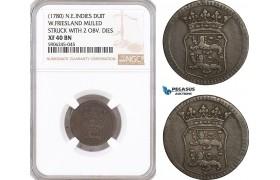 AF608, Netherlands East Indies, VOC, Duit (1780) West Friesland Arms, NGC XF40BN, Mint Error, Mule, Rare!