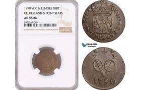 AF609, Netherlands East Indies, VOC, Duit 1790, Gelderland Arms, NGC AU55BN