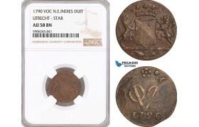 AF611, Netherlands East Indies, VOC, Duit 1790, Utrecht Arms, NGC AU58BN