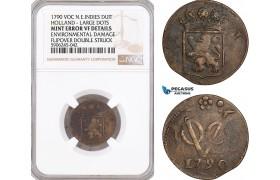 AF612, Netherlands East Indies, VOC, Duit 1790, Holland Arms, NGC VF Det., Mint Error