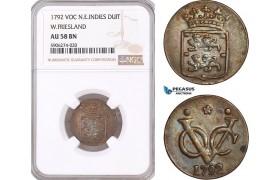 AF613, Netherlands East Indies, VOC, Duit 1792, West Friesland Arms, NGC AU58BN